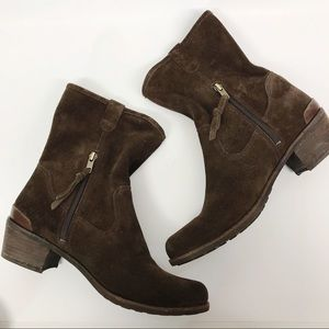 UGG Briar Lodge Brown Suede Leather Pull On Zipper